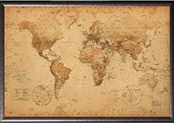Amazon framed world map antique art 24x36 poster in silver framed world map antique art 24x36 poster in silver finish wood frame gumiabroncs Image collections