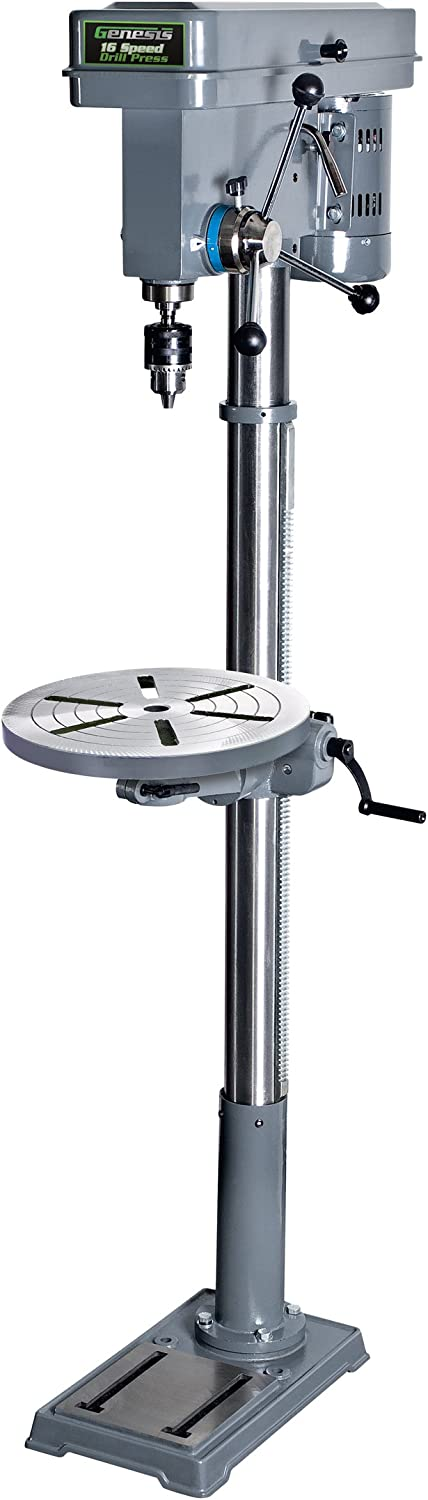 """Genesis GFDP160 6.6 Amp 13"""" 5/8"""" Chuck 16-Speed Floor Stand Drill Press with Tilt Table, Heavy Cast Iron Base, Chuck Key, and Wrenches, Grey, 13-Inch"""