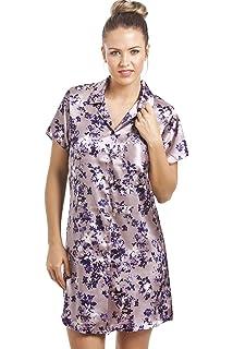 bc8c49ec0c32b3 Camille - Damen Luxus-Nachthemd aus Satin mit Blumenmuster - knielang - lila