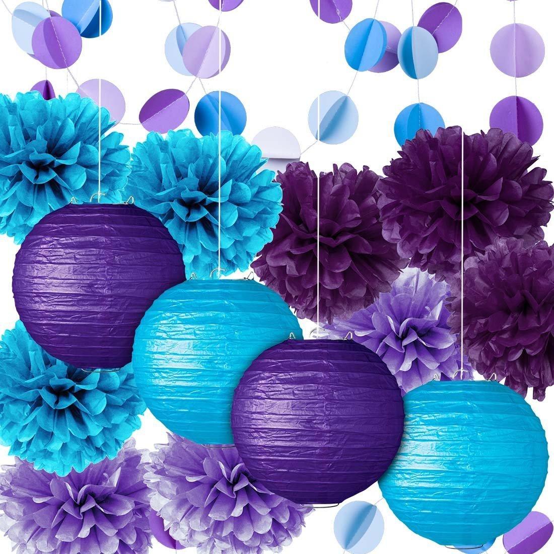 Party Decoration Kit Purple Blue Tissue Paper Pom Poms