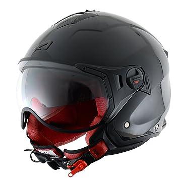 Astone Helmets MINISPORT-BKL Minijet Sport - Casco de motocicleta, Negro Brillante, L