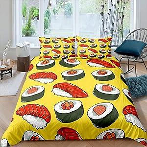 Cartoon Japan Food Bedding Set Salmon Sashimi Yellow Comforter Cover Set King Size for Adult Teens Bedroom Japanese Style Duvet Cover Soft Microfiber Quilt Cover 3pcs Bedding Set