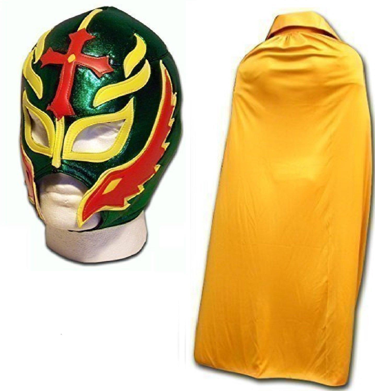 WRESTLING MASKS UK Men's Son Of The Devil Luchador Wrestling Mask With Cape One Size Green/Gold