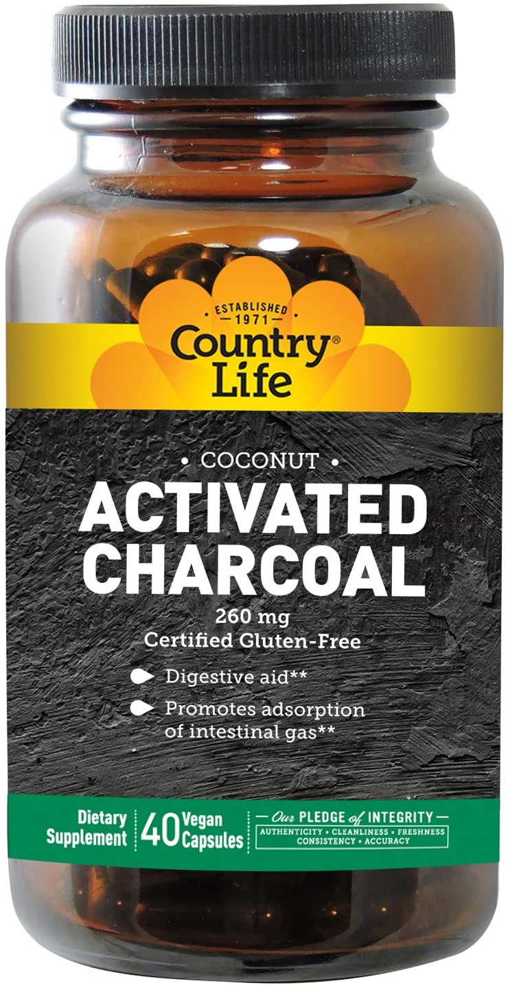 Country Life Natural Charcoal Capsules 260 mg, 40 Capsules