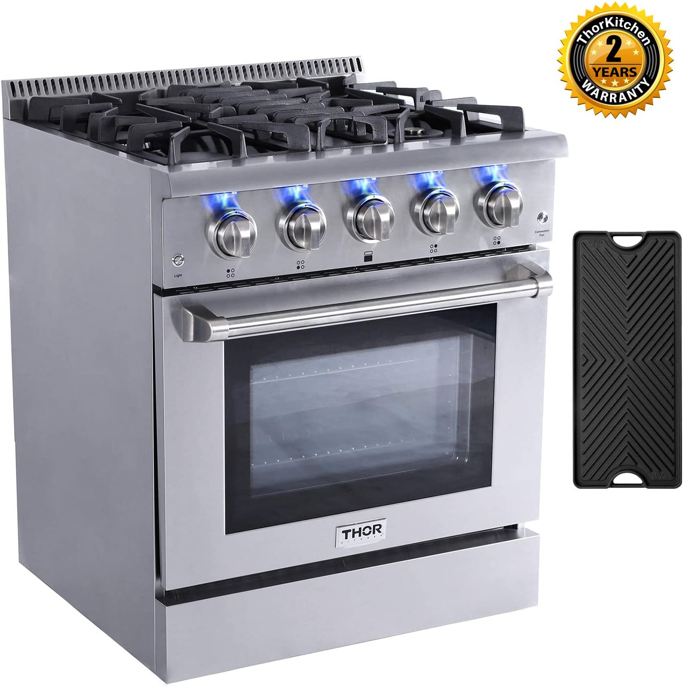 Thor Kitchen 30'' Gas Range Pro-Style Freestanding Professional Style with 4.2 cu.ft Convection Oven in Stainless Steel, 4 Burners, Cast-Iron Reversible Griddle, HRG3080U