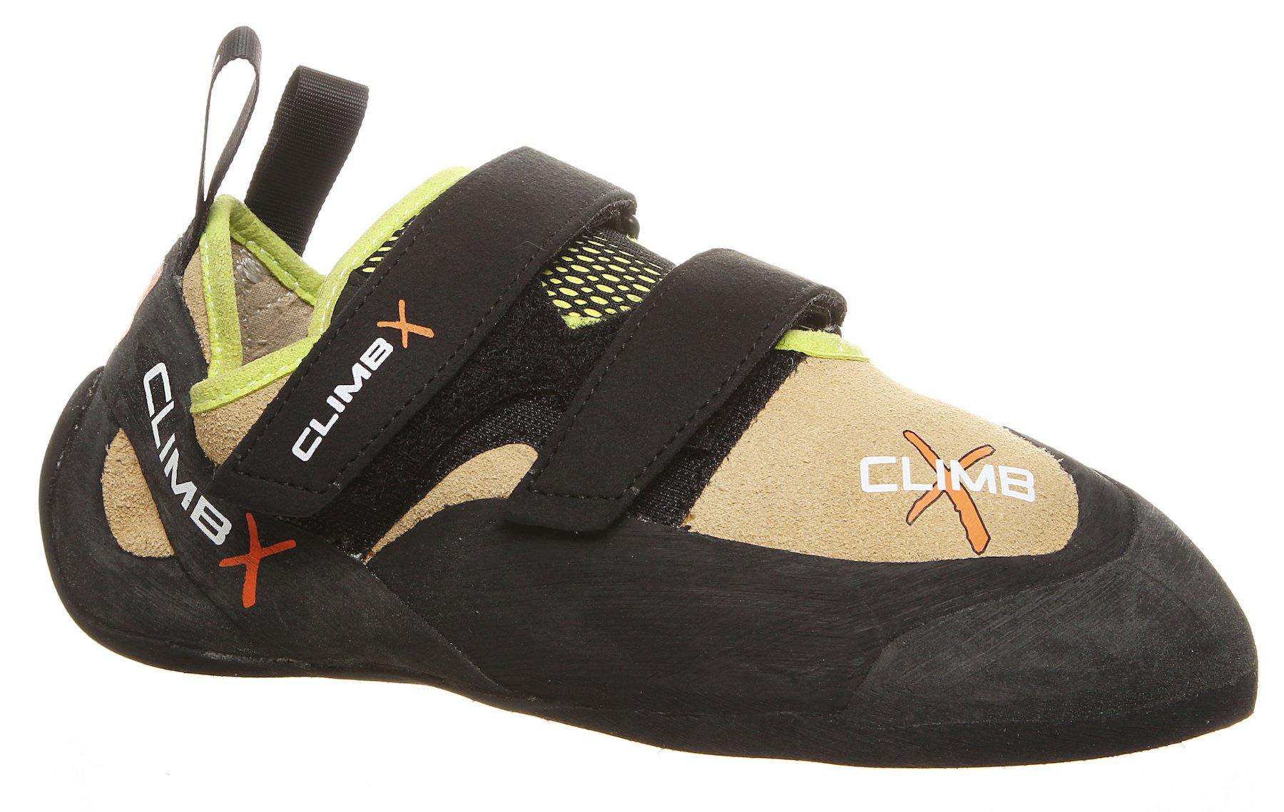 Climb X Rave Trainer Climbing Shoe with Free Sickle M-16 Climbing Brush (Men's 6.5, Tan)