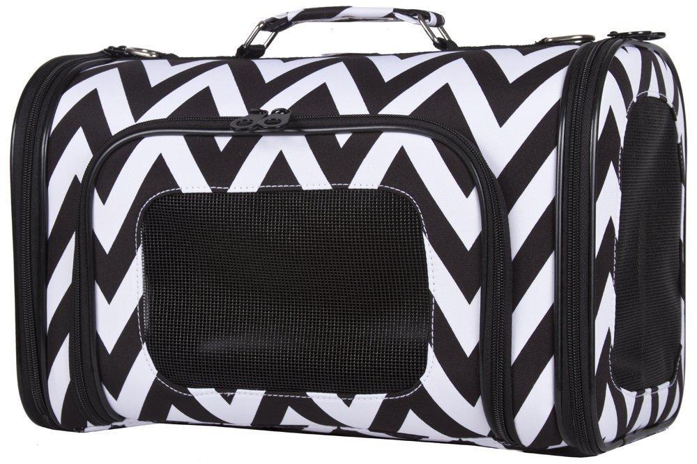 Medium Ever Moda Black White Chevron Print Soft-sided Pet Carrier 16-inch