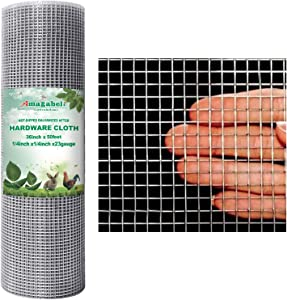 AMAGABELI GARDEN & HOME 1/4 Hardware Cloth 36 x 50 23Gauge Galvanized After Welded Wire Metal Mesh Roll Vegetables Garden Rabbit Fencing Snake for Chicken Run Critters Gopher Racoons Cage Wire