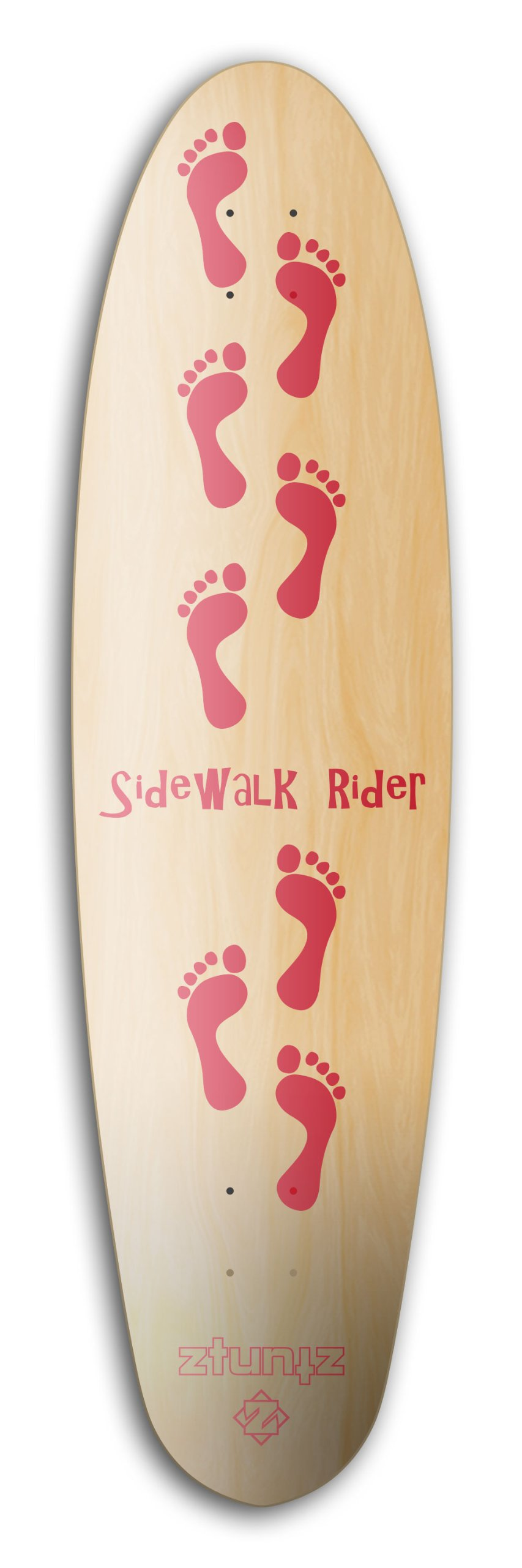 ZtuntZ Skateboards Sidewalk Rider 8 Steps Long Skateboard Deck, 9.65 x 37-Inch, Red/Natural