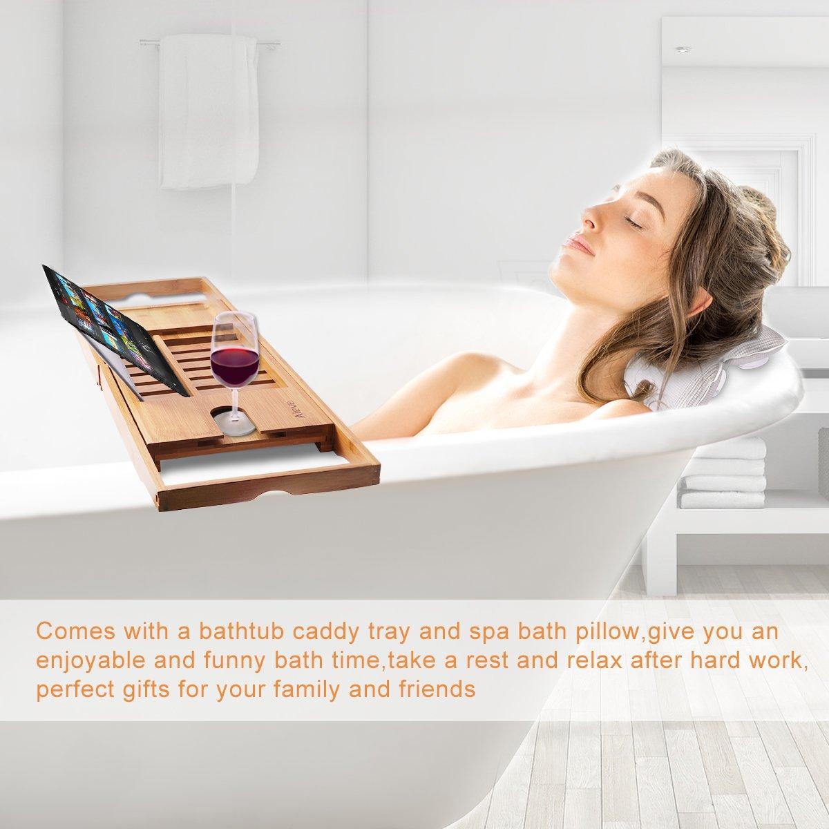 Amazon.com: AIEVE Bathtub Tray and Bath Pillow,Bamboo Bathtub Caddy ...