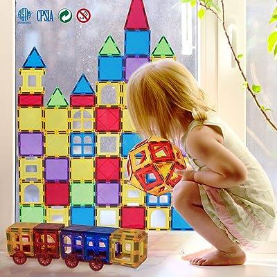 NINI Bloques magnéticos Que construyen Juguetes educativos Azulejos magnéticos para 3+ niños Juego de 66/86 Piezas: Deportes y aire libre