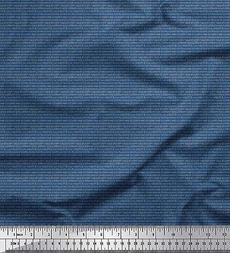 Soimoi Azul Popelina De Algodón Tela cajas grises tela de camisa tela artesanal impresa por metro 56 Pulgadas de ancho: Amazon.es: Hogar