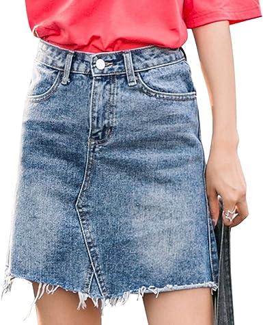 NiSeng Mujeres Falda Tejana Moda Vintage Cintura Alta Borla Falda ...