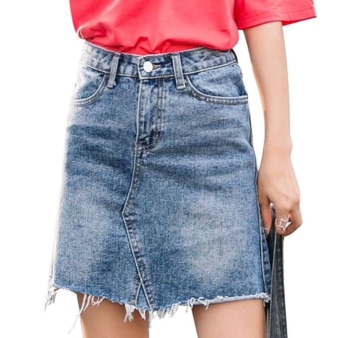 Vintage es Corta Tejana Vaquera Y Alta Falda Mujeres Moda Ropa Cintura Borla Niseng Accesorios Amazon qPzIF4wpn