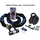 MAMMOTH LOCM009 1.8m SQUARE LINK CHAIN /& Motorbike Safety Security Oxford Rota Force Ground Anchor