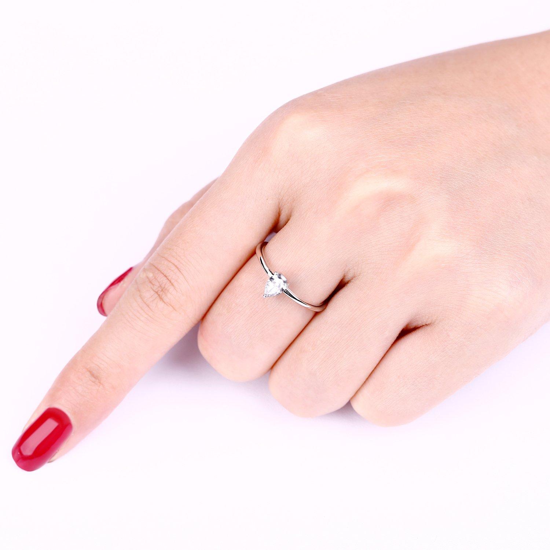 0.8 Carat Moissanite Diamond Teardrop-Shape Wedding Band Engagement ...