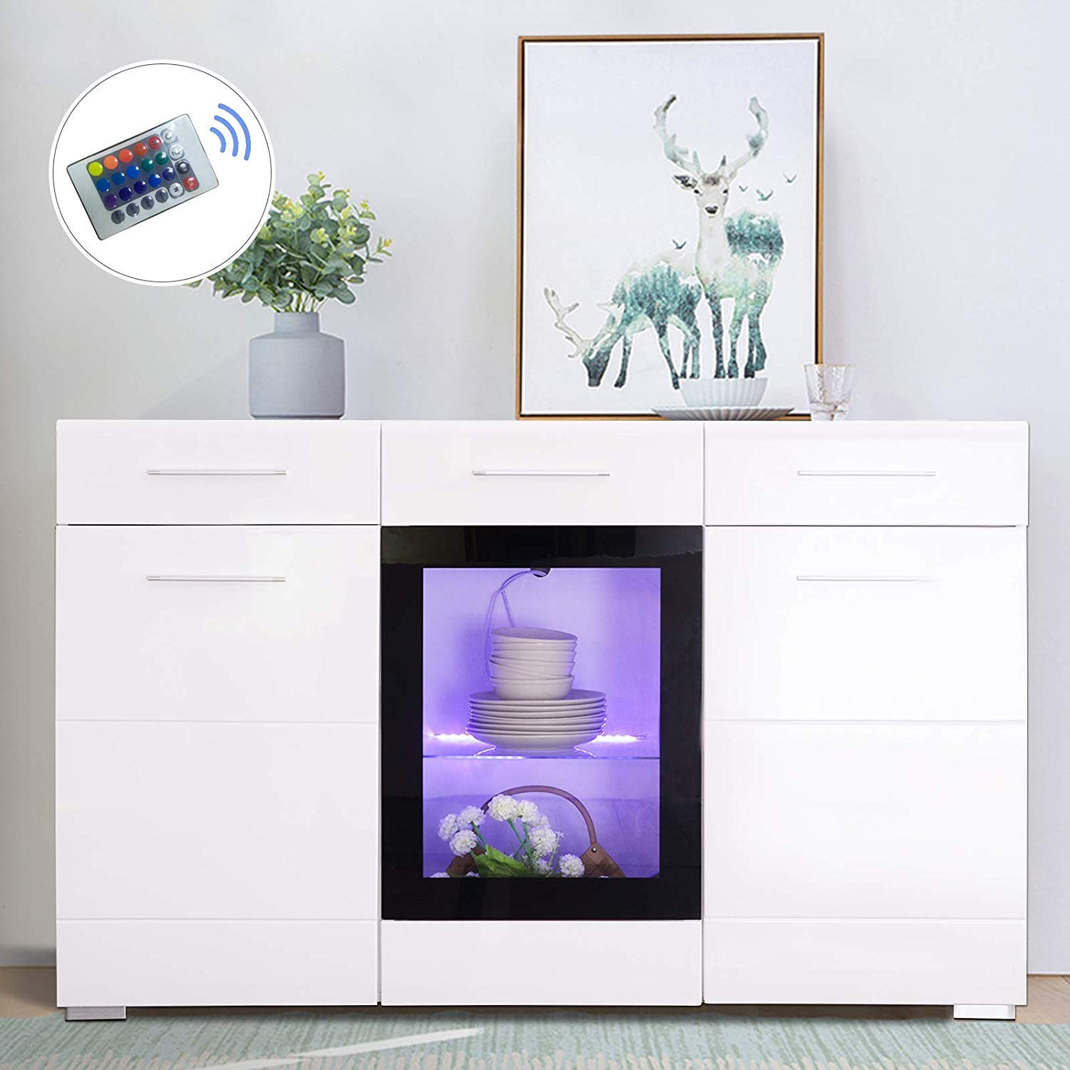 Mecor LED Sideboard Cabinet Buffet,Kitchen Sideboard and Storage Cabinet/TV Stand High Gloss LED Dining Room Server Console Table Storage with 3 Door/2 Drawers White by mecor