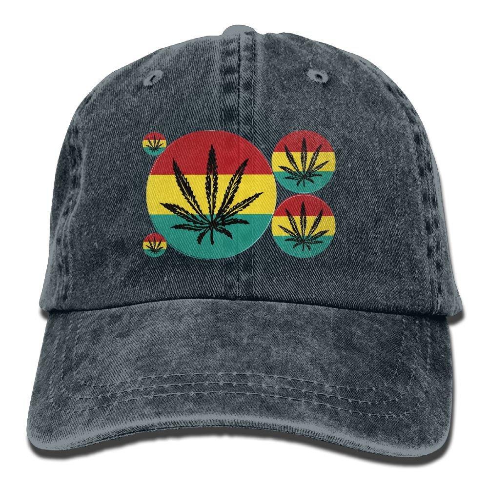 Trableade Marijuana Colorful Pattern Adult Sport Adjustable Structured Baseball Cowboy Hat