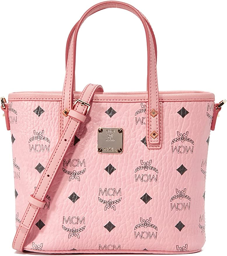 MCM Damen Umhängetasche Top Zip Shopper Anya Mini Soft Pink