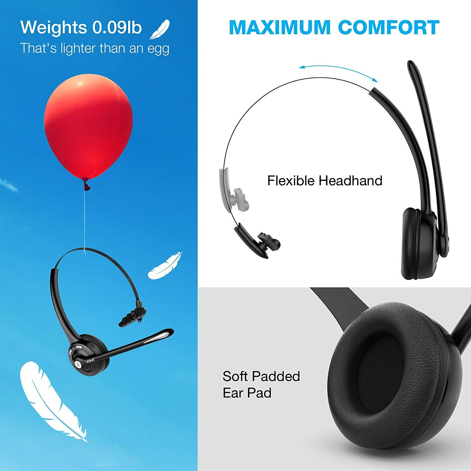 Amazon.com: Bluetooth Headset with Microphone, Wireless Office Headset,  Portable, Suitable for Men, Women, VOIP, Skype, Call Centers,  Truckers/Truck ...