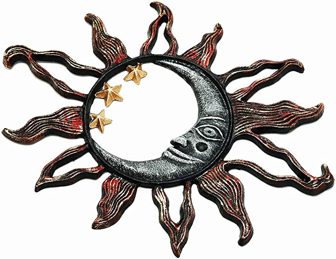 Sungmor Cast Iron Heavy Duty Sun Face Wall Plaque Decorative Garden Art Sculpture Wall Decor Hand Painted Metal Wall Art Home Decor Great Decoration For Garden Kitchen Or Anywhere 13 6 X9 5 Home Kitchen