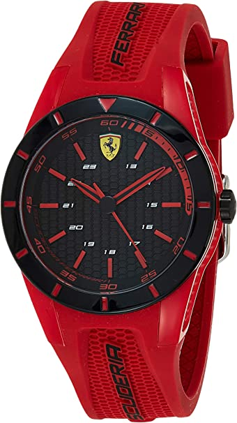 Ferrari Kid S Redrev Stainless Steel Quartz Watch With Rubber Strap Red 20 Model 0840005 Watches Amazon Com