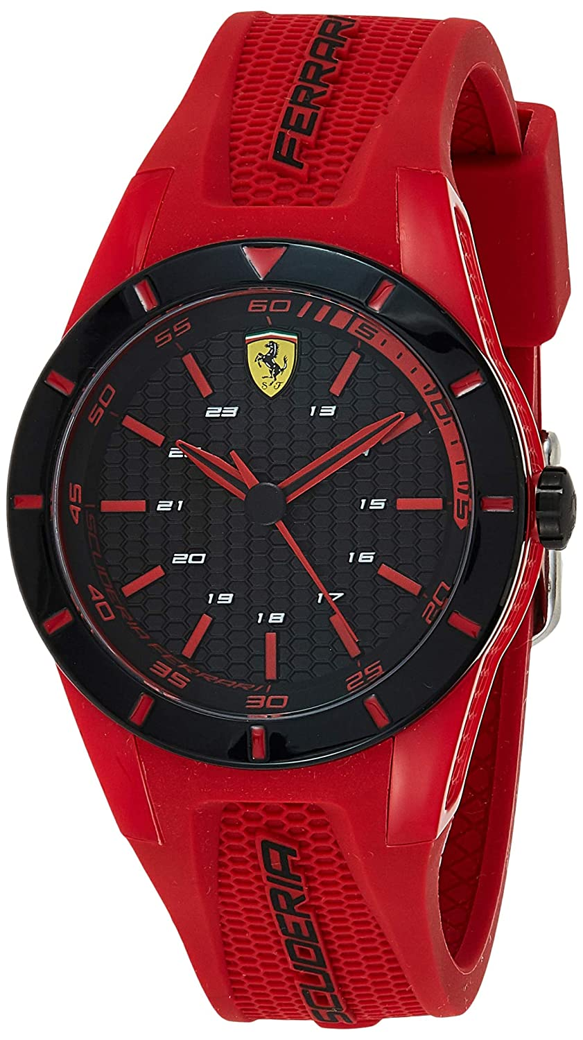Ferrari Men RedRev Stainless Steel Quartz Watch with Rubber Strap red 20 Model 0840005