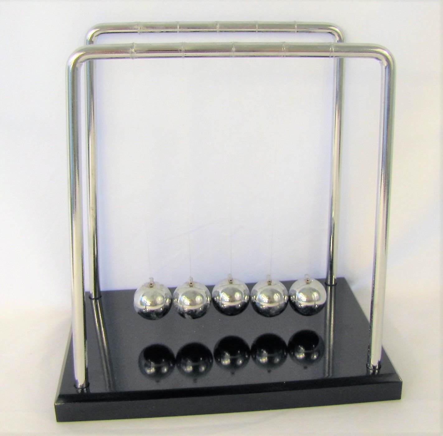 Newton's Cradle, Large Balance Ball Pendulum, Demonstrate Laws of Motion, Classical Physics Desktop Display, 7.25 Inch Height