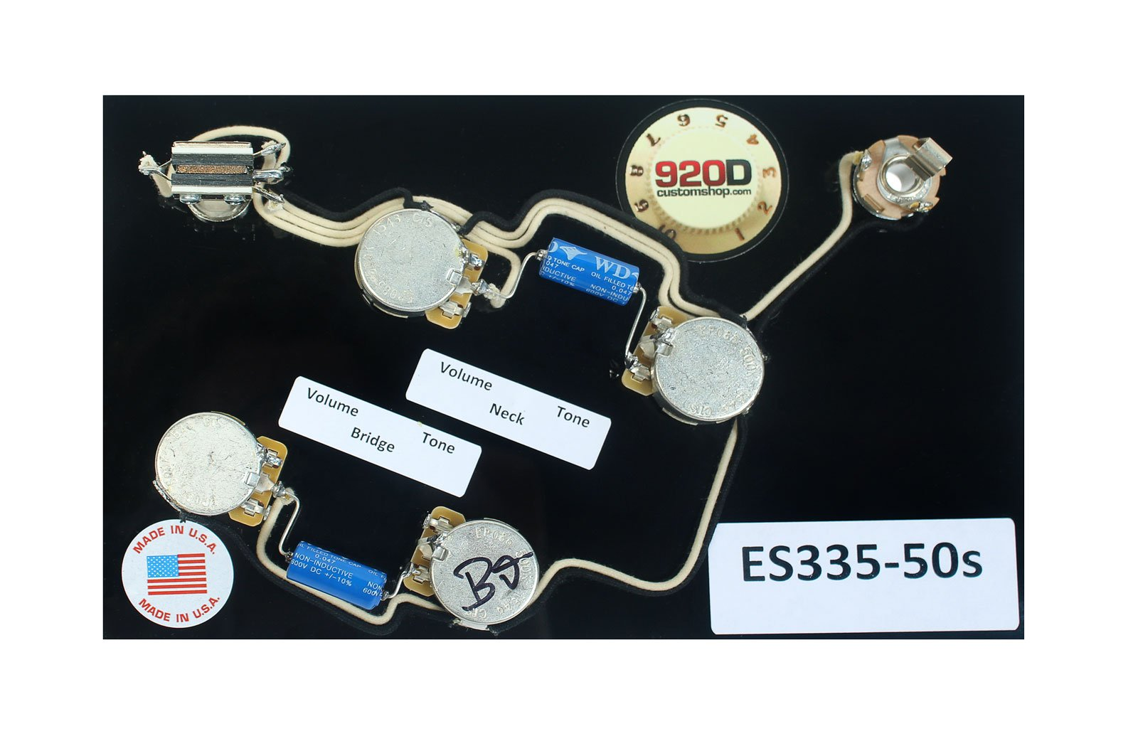 920D ES-335 50's Wiring Harness for Gibson CTS Switchcraft PIO Paper In Oil
