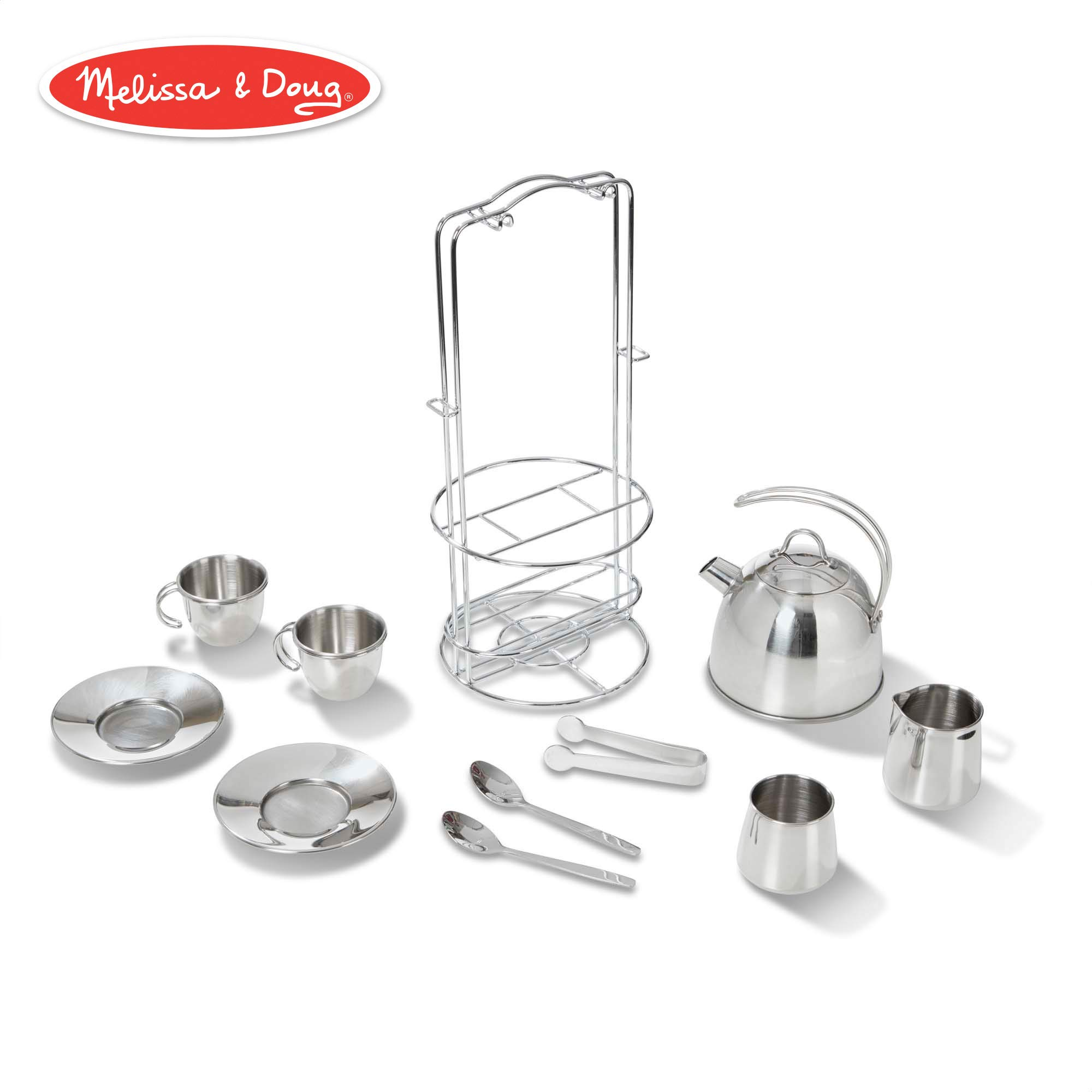 Melissa & Doug Stainless Steel Pretend Play Tea Set and Storage Rack for Kids (11 pcs)