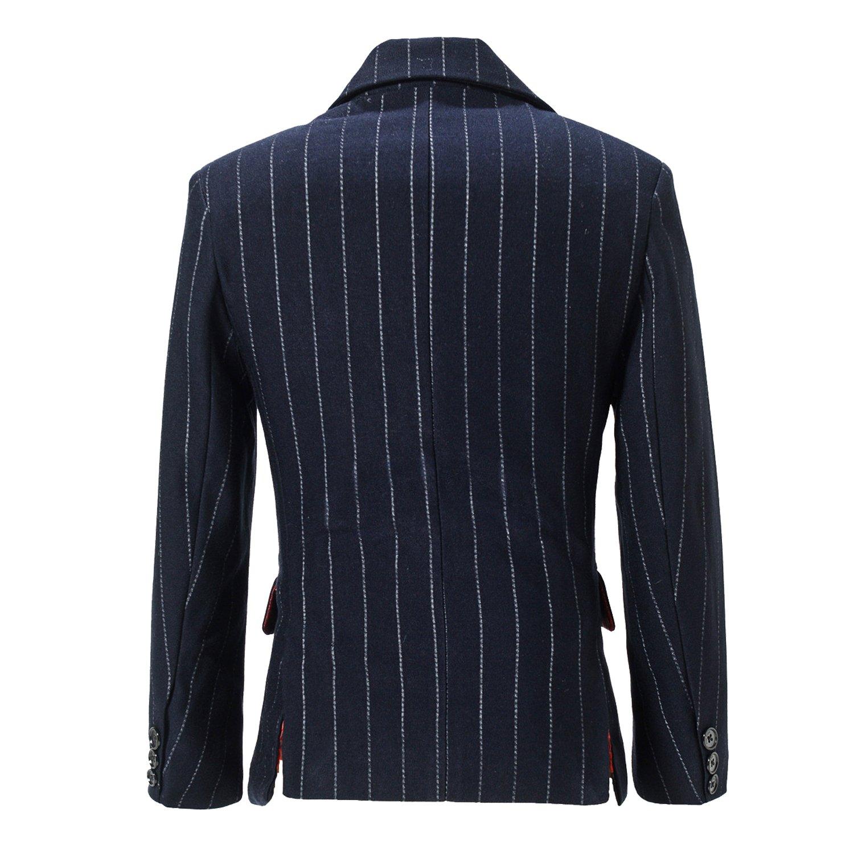 Yuanlu Boys Jacket Formal 2 Button Pinstripe Dress Wear Suit Coat Kids Blazer Size 8 Black
