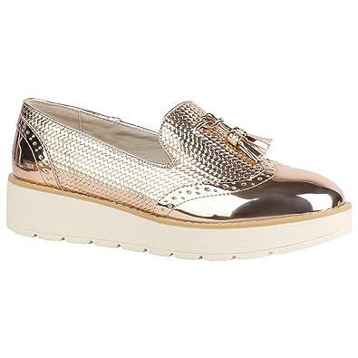 f7e77f8b1f6e40 Stiefelparadies Damen Schuhe Loafers Quasten Glitzer Slipper Profilsohle  Dandy Geek 155972 Rose Gold Lack 36 Flandell