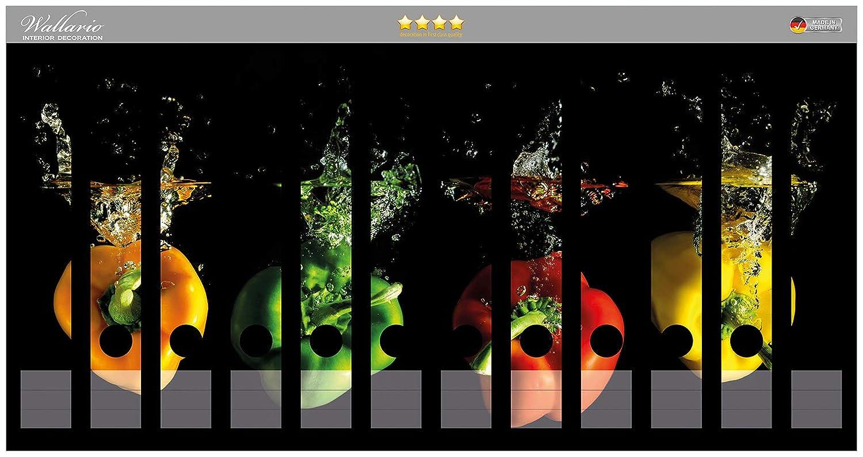 passend f/ür 8 schmale Ordnerr/ücken Gr/ö/ße 8 x 3,5 x 30 cm Wallario Ordnerr/ücken Sticker Pastellgelb in Premiumqualit/ät