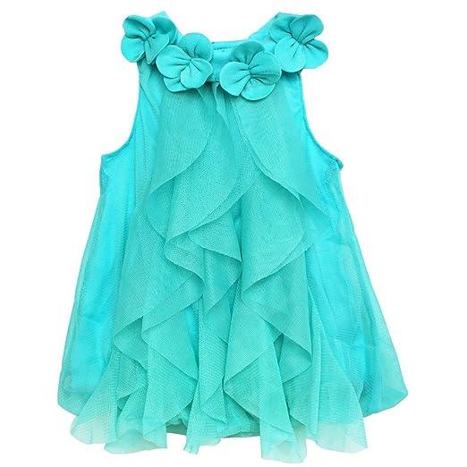 b7765b22591d FEESHOW Baby Girls  One Piece Ruffle Romper Summer Party Wedding Flower Girl  Dress Blue 6