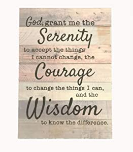 """Ollie West Real Wood Serenity Prayer Sign - 12""""x17"""" - Charming Farmhouse Serenity Sign Decor - Pallet Serenity Prayer Wall Art - Great Gift for Those in Recovery"""