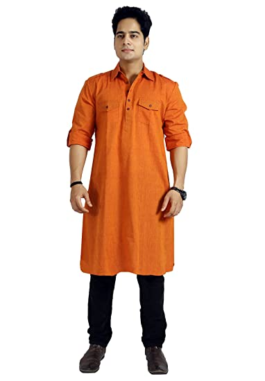 baali men s cotton solid orange colour long length pathani kurta