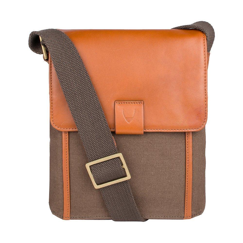 Hidesign Aiden Genuine Leather and Canvas Mini Crossbody Men/Women Messenger Bag / Travel Bag / 10.5'' iPad Bag, Tan