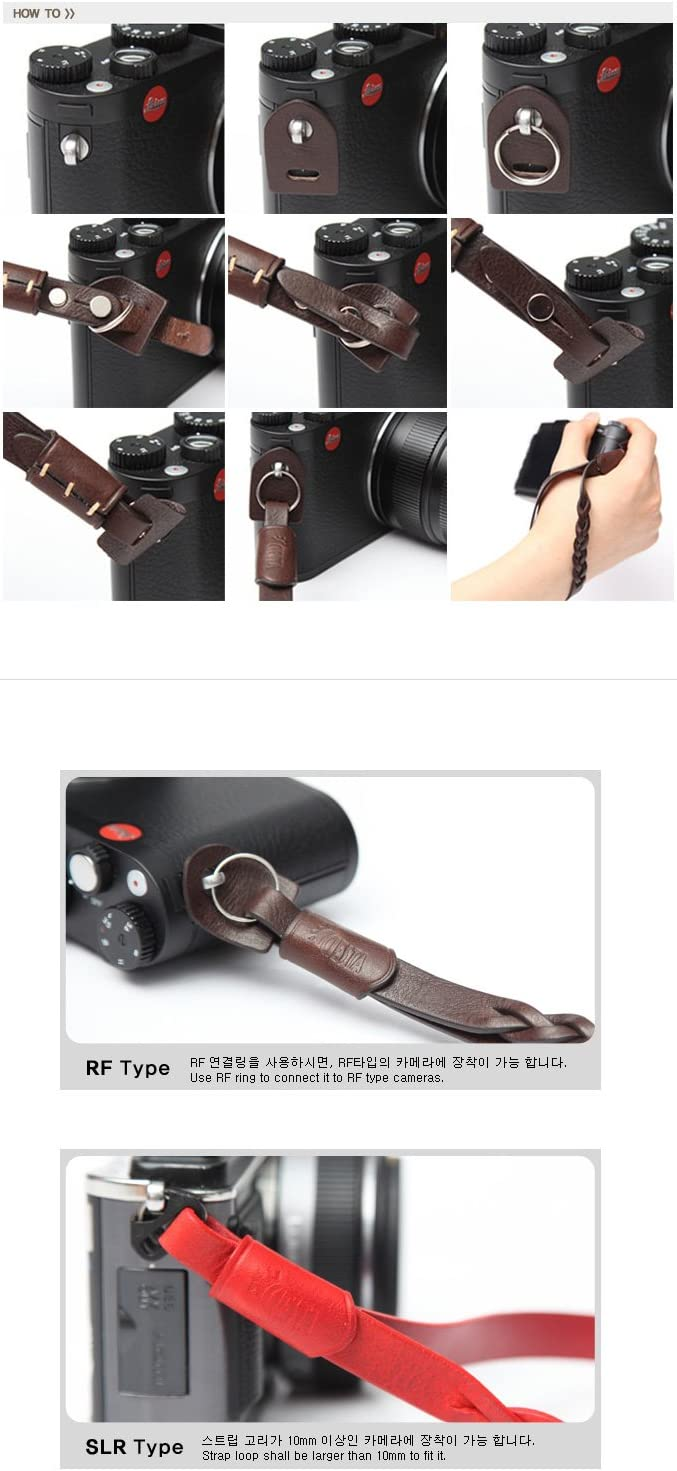 CSS-HMW-02 Brown CIESTA Hand Made Genuine Leather Camera Wrist Strap MANO For Mirrorless RF Range Finder Leica Sony Fujifilm Olympus