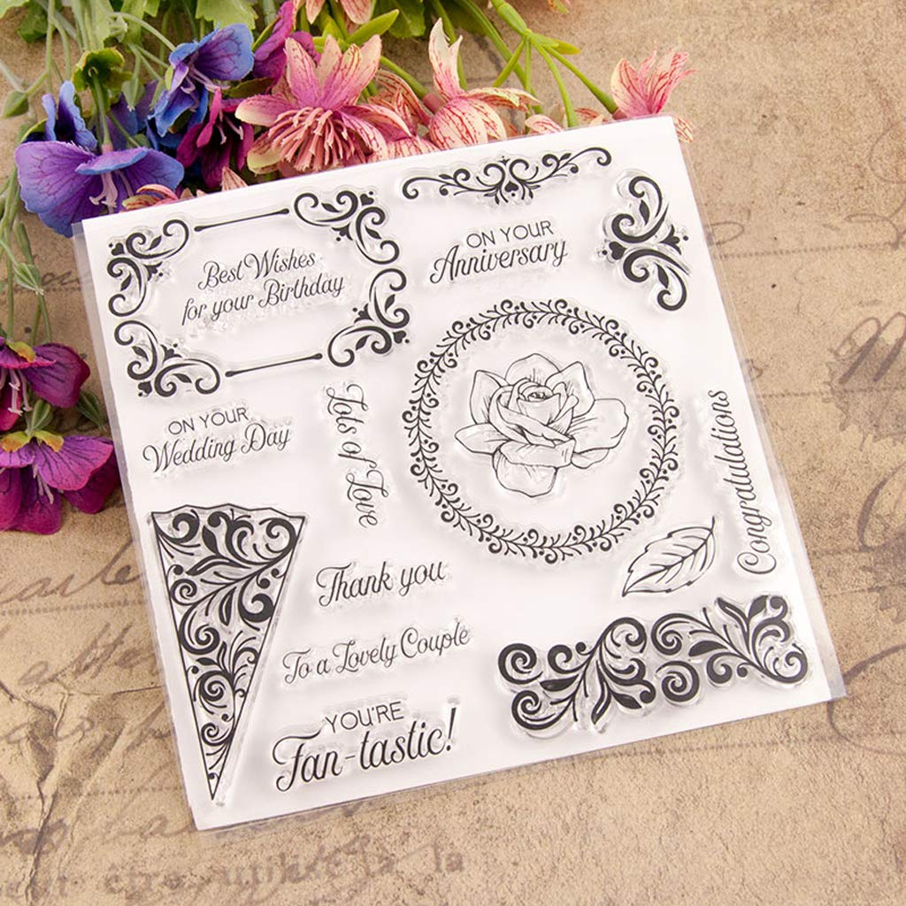 Zoeyomg Best Wishes Flower Silicone Clear Stamp Seal DIY Scrapbook Embossing Album Decor Craft Art