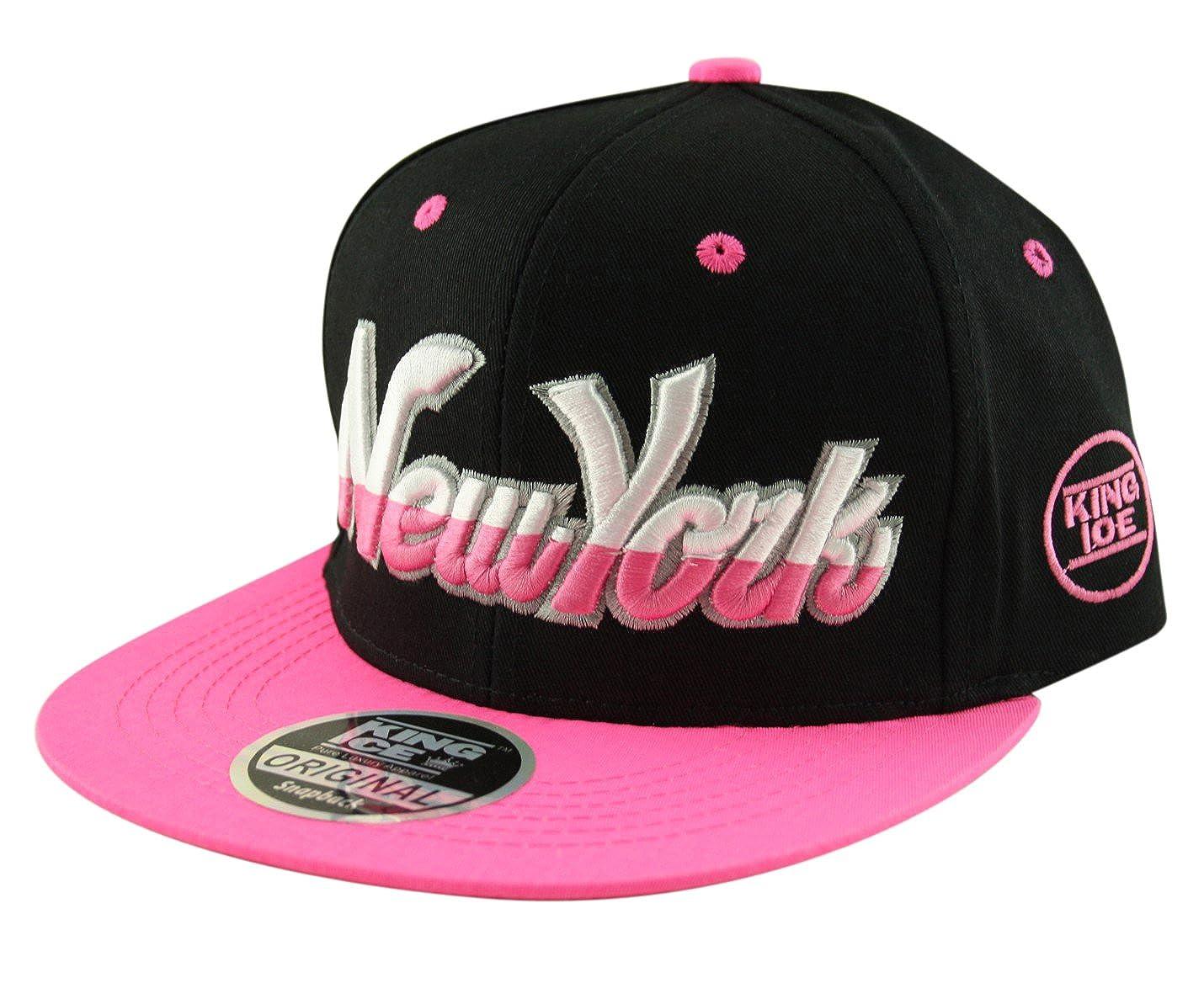 King Ice Snapback Hat Flat Peak Adult Adjustable Baseball Cap New York NY Script (Lots of colours black, pink, white , green, purple!)