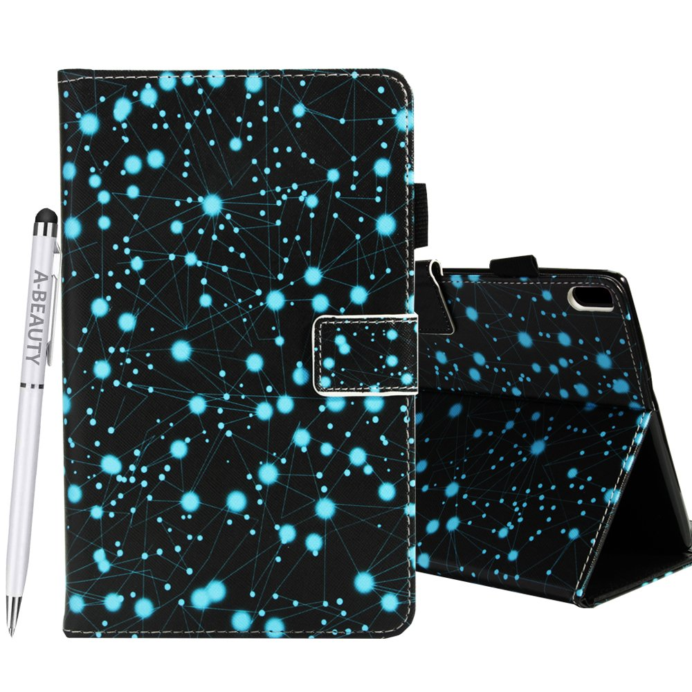 A-BEAUTY Lenovo Tab 4 10 Plus case, Painted Leather Soft TPU [Card Slots] Stand Wallet Smart Cover Shockproof For Lenovo Tab 4 10 Plus Tablet 2017 Release + 1* Free Stylus Pen, Constellation