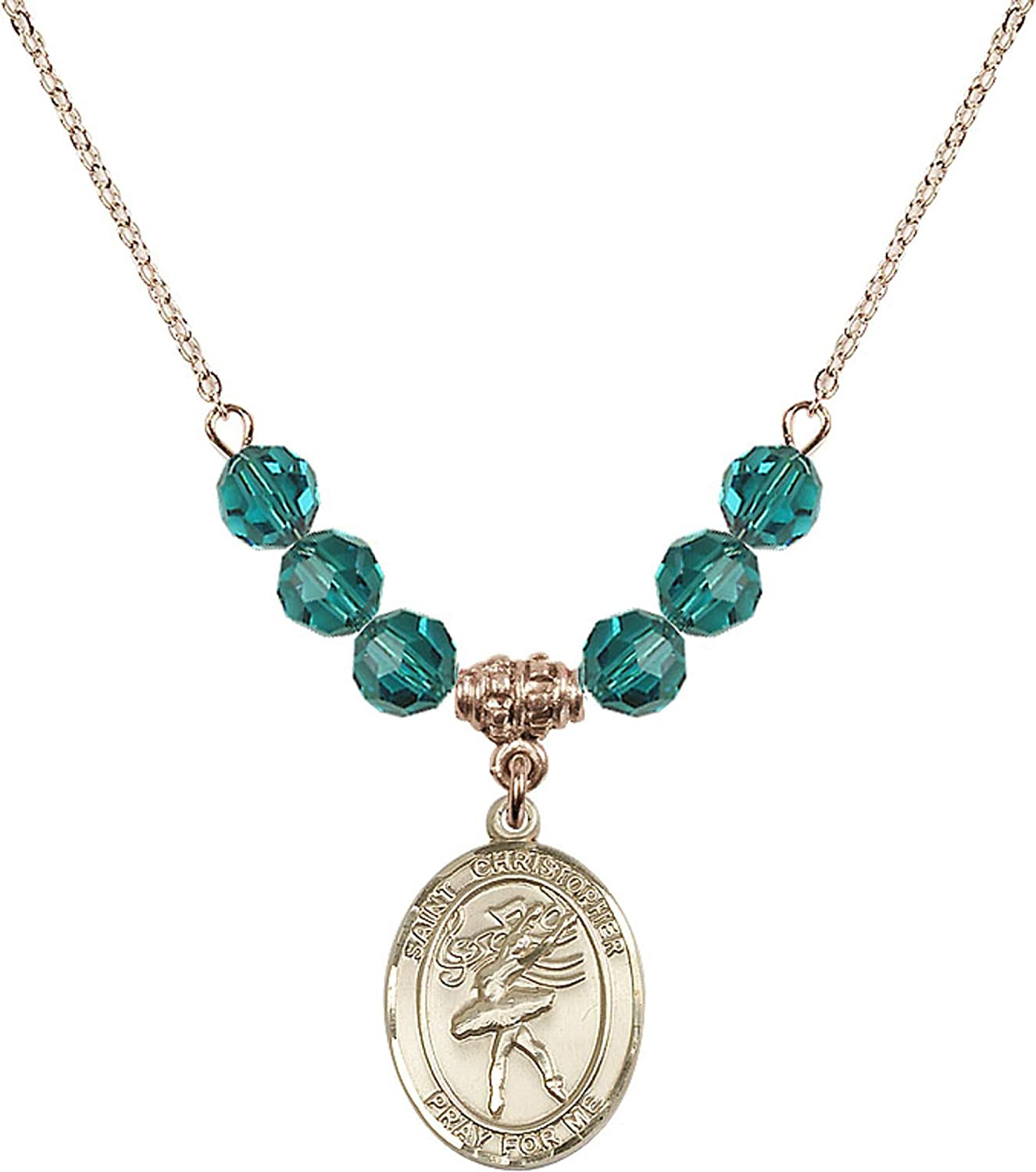 Bonyak Jewelry 18 Inch Hamilton Gold Plated Necklace w// 6mm Blue December Birth Month Stone Beads and Saint Christopher//Dance Charm