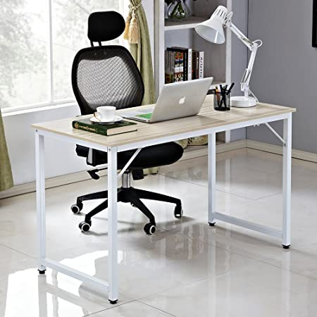 Soges Desks 120x60cm Computer Table Compact Sturdy Home Desk Office Desk  For Meeting Training Writing Desk