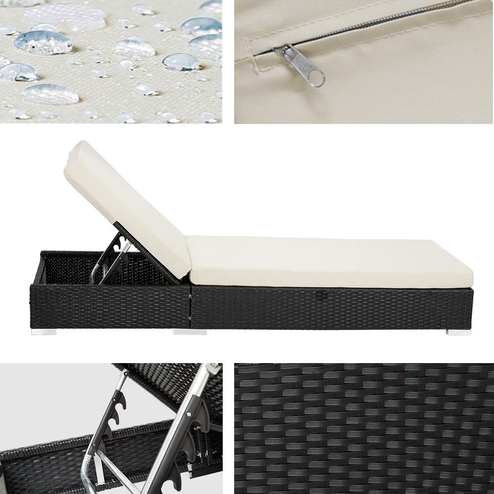 Amazon.de: TecTake 2X Aluminium Polyrattan Sonnenliege + Tisch ...
