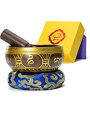 Handmade Tibetan Singing Bowls set for Yoga Meditation Relaxation Exquisite Gift Home Decoration Plaything and Mindfulness Training With Dual Surface Mallet and Silk Cushion 4.5 inch made in Nepal