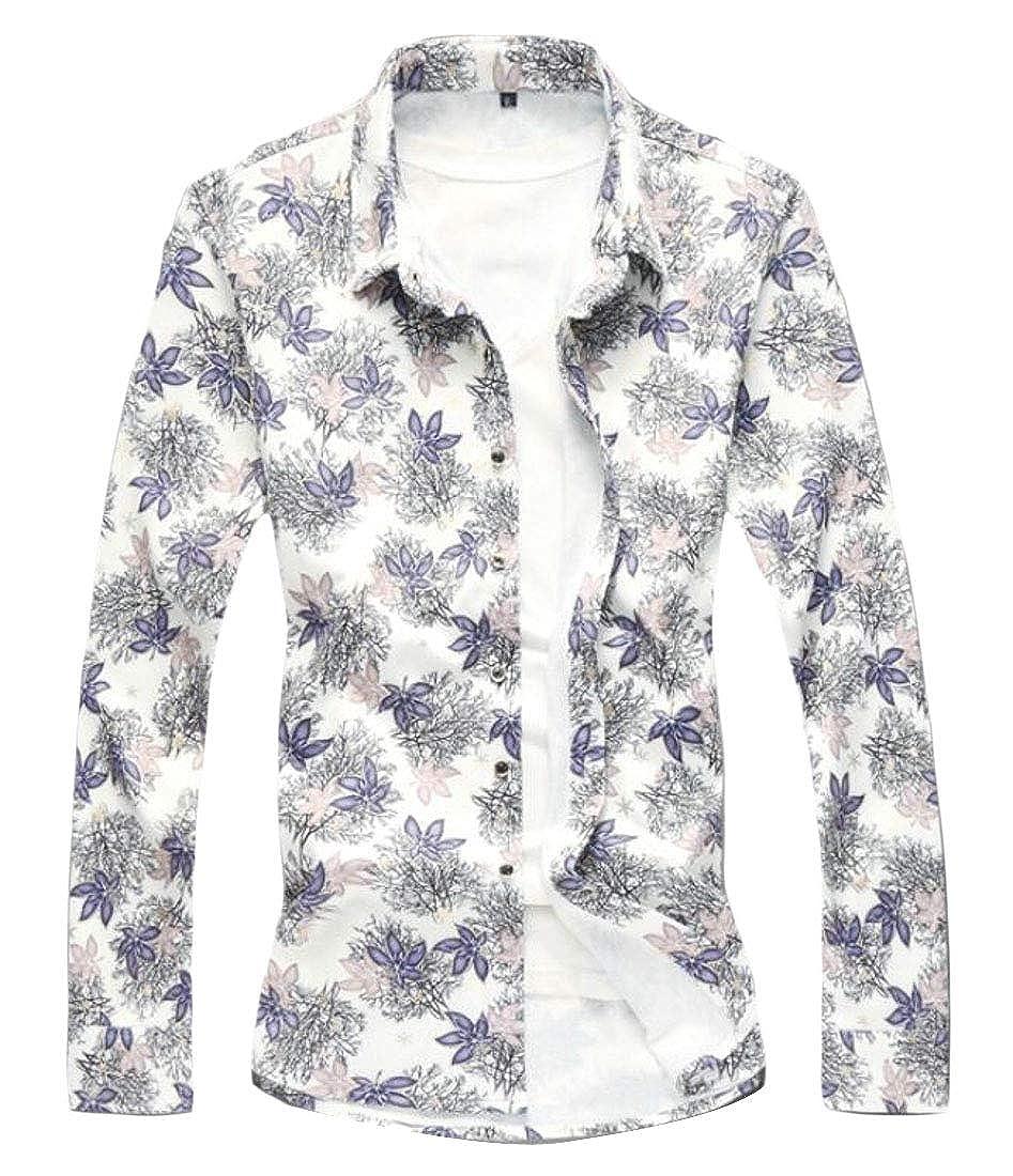 Suncolor8 Men Print Long Sleeve Casual Business Slim Lapel Neck Button Down Dress Shirt