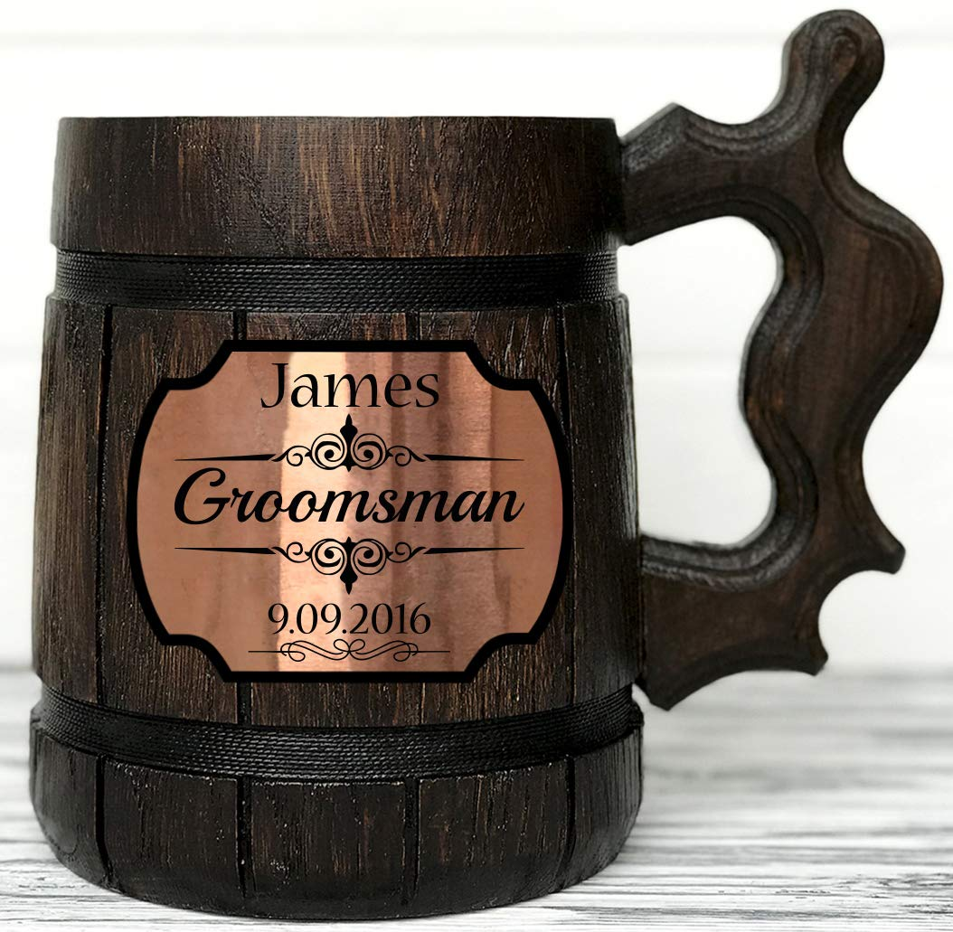 Personalized Wooden Beer Mug. Personalized Groomsmen Gift. Groomsmen Beer Mug. Groomsman Gift. Wedding Gift. Best Man Gift. Wooden Tankard. Personalized Wedding Gift. Wood Mug. Custom Beer Steins K2