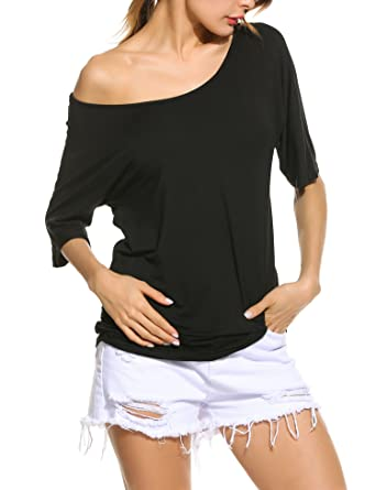 fdcb9cd877ef5 ZEARO Cold Shoulder T-Shirt Women Casual Summer Hollow out 1 2 Batwing  Sleeve