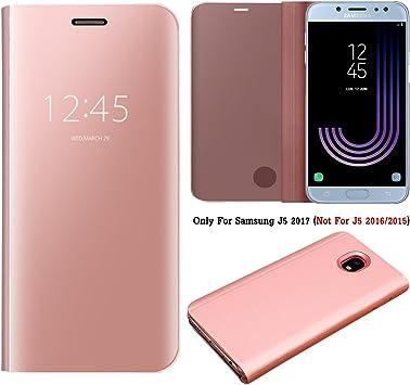 Guran® Mirror Efecto Espejo Funda para Samsung Galaxy J5 2017 J530 / J5 Pro 2017 Clear View Función de Soporte Plegable Smartphone Funda Protectora (Oro Rosa): Amazon.es: Electrónica