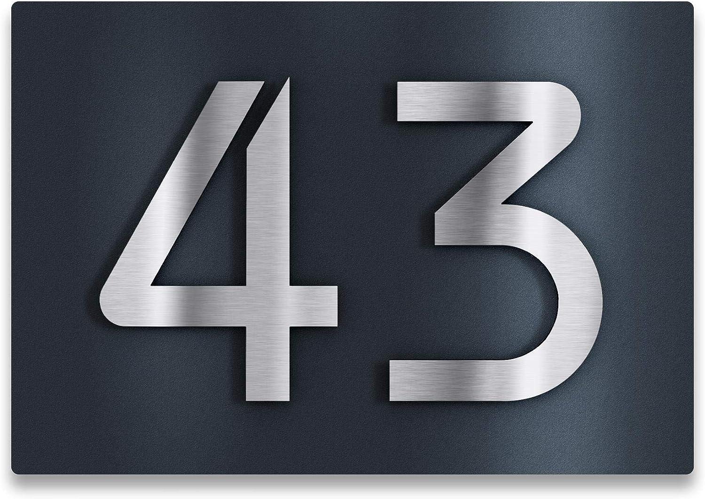 RAL 7016 Befestigungsmaterial w/ählbar mit 3D Effekt Ma/ße 175 x 250 mm Edelstahl-Schild mit Hausnummer in Anthrazit - rostfreie und witterungsbest/ändige Materialien